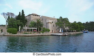 Monastery of Saint Mary on island Mljet - National park on...