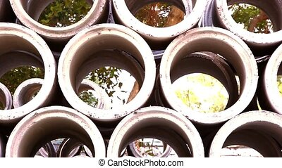 Industrial concrete pipe for building construction. Video...