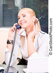 office girl - picture of lovely girl with phone and notebook...