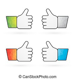 four indicators recommend thumbs up with colorful sleeves as...