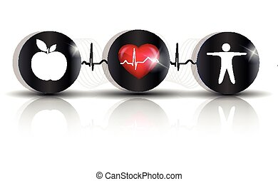Exercise, healthy diet and Cardiovascular Health symbols...