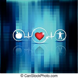 Physical activity and healthy diet prevents heart disease and stroke, symbols connected with heart beat line