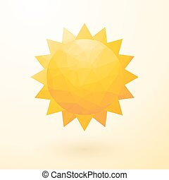 yellow sun composed of small triangles with shadow