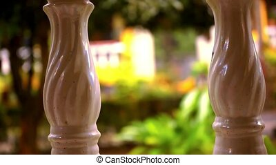Close-up of a line Of columns. Video shift motion - Close-up...