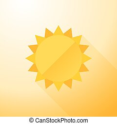symbol sun with long shadows - Yellow symbol sun with long...