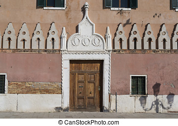 Church door in Venice - A traditional church entrance in...