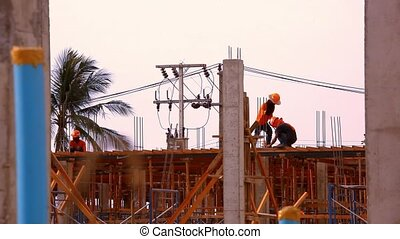 Construction worker working on a construction site Video -...