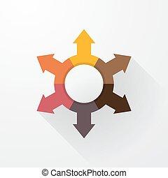 pastel color wheel with arrows