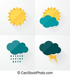 Weather icons with long shadows