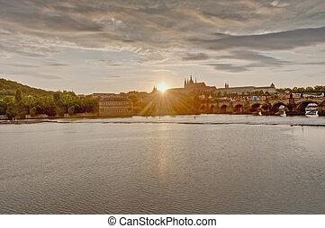 Vltava river from Rasinovo Street - Sunset on Vltava river...