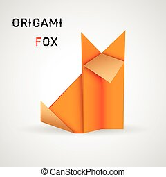 Fox origami - Vector illustration of origami fox on white...