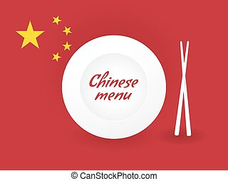 Chinese menu with a flag and chopsticks