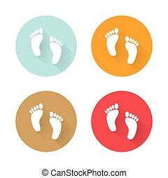 Icons human foots long shadows