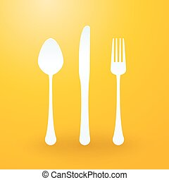 spoon fork and knife on yellow