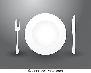 fork knife and plate