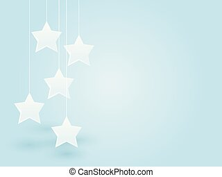 white stars hung on the thread on blue background