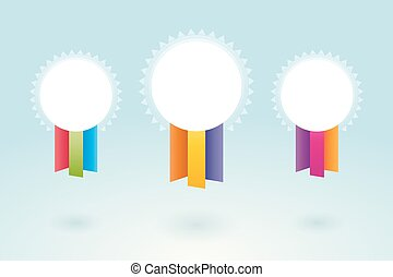 White medal with colorful ribbons