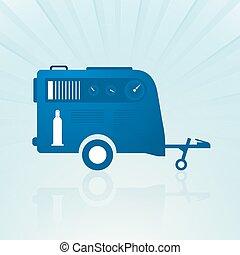 auto, schamelaanhanger, met, Compressor,