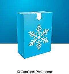 blue boxe with white snowflakes
