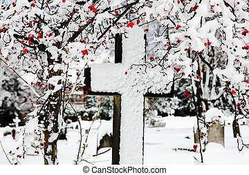 Snow Covered Cross - Old snow covered granite stone cross...