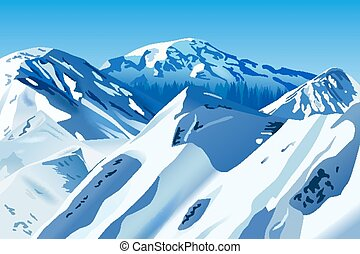 snowy mountains - Vector Snowy Mountains, Eps 10 Vector,...