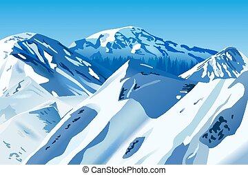 snowy mountains - Vector Snowy Mountains, Eps 10 Vector,...
