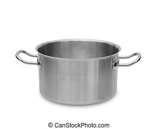 Stainless steel pot. - Stainless steel pot isolated on white...
