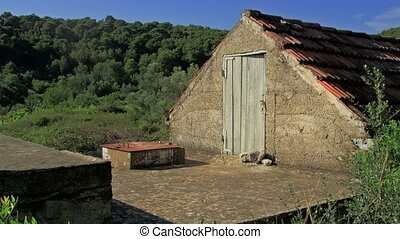 Traditional small houses in the fields on the island Mljet.