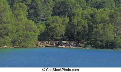 Beach at the small lake surrounded with centuries-old pine trees