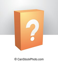 orange box a white question mark - orange box with a white...