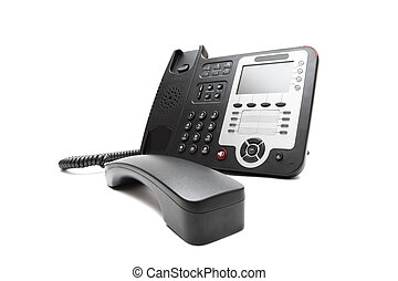 Black IP phone isolated - Black IP office phone isolated on...