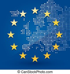 European Union flag with a map