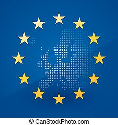 European Union flag with a map in t