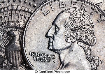 In God We Trust - Liberty - USA - Close-up detail on a...