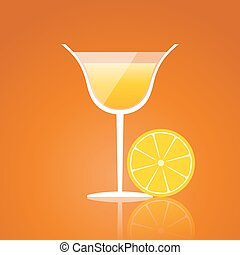 lemon drink on an orange background