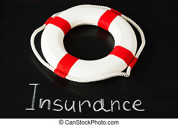 Lifebuoy On Blackboard With Insurance Text Written On It