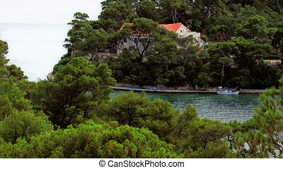Panorama of big lake on island Mljet witch is National...