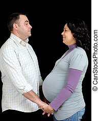 The waiting - Happy pregnant woman with her husband,...