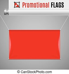 Promotional flag - Gorizontal red promotional flag hanging...