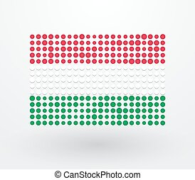 Hungary flag made up of small dots