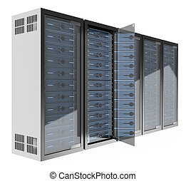 3D Communications rack - 3d Communications rack. Isolated...