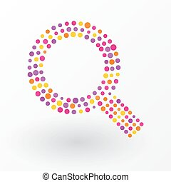 Magnifying glass composed of colored dots