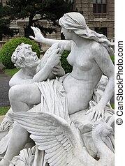 triton, et, Nereid, fontaine, dans, Vienne, Autriche,