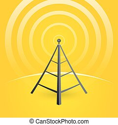 construction of a transmitter on a yellow background with...