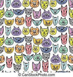 Colorful cute cat pattern - Doodle cat faces vector...
