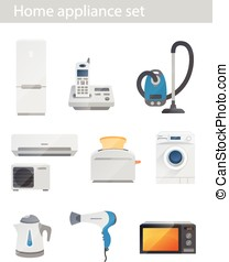Household appliances vector set on white background
