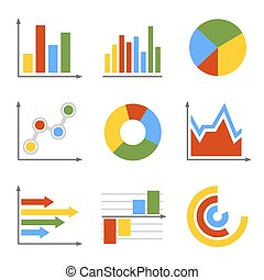 Color Business Graph and Chart Set. Vector