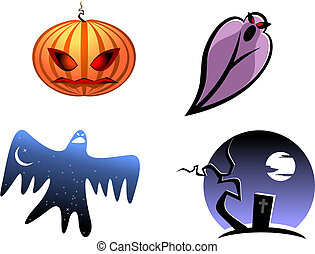 Halloween and ghost icons for design isolated on white
