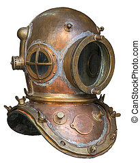 Old antique metal scuba helmet with clipping path isolated on white background