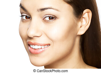 Woman smile. Teeth whitening. Dental care. - Beautiful woman...